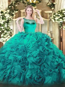 Teal Sleeveless Floor Length Beading and Ruffles Zipper Quince Ball Gowns