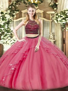 Beading and Ruffles Ball Gown Prom Dress Coral Red Zipper Sleeveless Floor Length