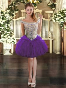 Hot Selling Sleeveless Beading and Ruffles Zipper Homecoming Dress