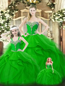 High Class Floor Length Green Sweet 16 Dress Organza Sleeveless Beading and Ruffles
