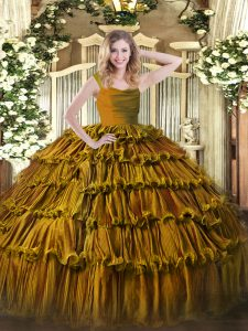 Ideal Brown Organza Zipper Straps Sleeveless Floor Length Sweet 16 Dresses Ruffled Layers