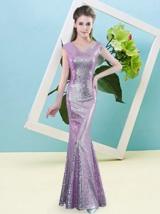 Charming Floor Length Lilac Dress for Prom V-neck Cap Sleeves Zipper