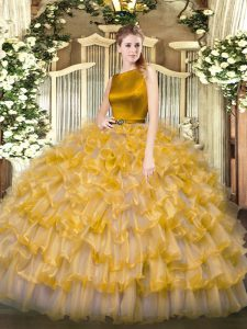 Smart Gold Organza Clasp Handle Quinceanera Dresses Sleeveless Floor Length Ruffled Layers
