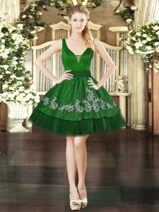 V-neck Sleeveless Organza and Taffeta Prom Party Dress Beading and Appliques Lace Up
