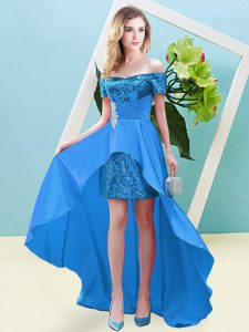 Baby Blue Empire Off The Shoulder Short Sleeves Elastic Woven Satin and Sequined High Low Lace Up Beading Evening Dress