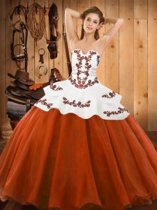 Rust Red Quinceanera Dresses Military Ball and Sweet 16 and Quinceanera with Embroidery Strapless Sleeveless Lace Up