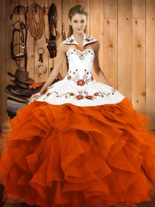 Suitable Orange Red Halter Top Neckline Embroidery and Ruffles Quince Ball Gowns Sleeveless Lace Up