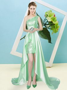 Cute Elastic Woven Satin and Sequined Sleeveless High Low Prom Dress and Sequins