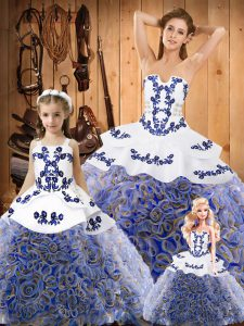 Lace Up Quinceanera Gowns Multi-color for Military Ball and Sweet 16 and Quinceanera with Embroidery Sweep Train