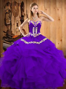 Sweet Floor Length Purple Vestidos de Quinceanera Satin and Organza Sleeveless Embroidery and Ruffles