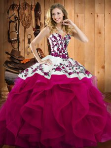 Custom Design Fuchsia Sweetheart Neckline Embroidery Quinceanera Gowns Sleeveless Lace Up