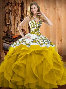 Yellow Satin and Organza Lace Up Sweetheart Sleeveless Floor Length Quinceanera Gown Embroidery and Ruffles