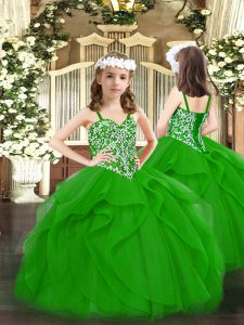 Green Tulle Lace Up Straps Sleeveless Floor Length Pageant Dress Womens Beading and Ruffles