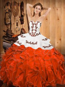 Best Selling Rust Red Quinceanera Dress Military Ball and Sweet 16 and Quinceanera with Embroidery and Ruffles Strapless Sleeveless Lace Up