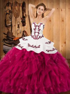 Ball Gowns 15 Quinceanera Dress Fuchsia Strapless Satin and Organza Sleeveless Floor Length Lace Up