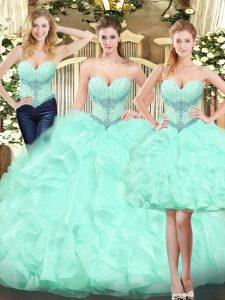 Apple Green Ball Gowns Ruffles Vestidos de Quinceanera Lace Up Organza Sleeveless Floor Length