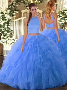 Tulle Sleeveless Floor Length Sweet 16 Quinceanera Dress and Beading and Ruffles