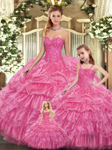 Rose Pink Sleeveless Beading and Ruffled Layers Floor Length Quinceanera Gown