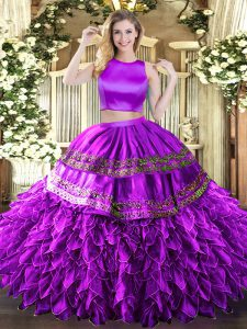 Eggplant Purple Sleeveless Floor Length Ruffles and Sequins Criss Cross Sweet 16 Quinceanera Dress