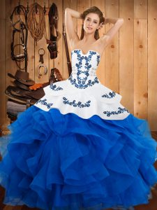 Best Selling Satin and Organza Strapless Sleeveless Lace Up Embroidery and Ruffles Sweet 16 Dresses in Blue