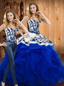 Ideal Blue Two Pieces Sweetheart Sleeveless Satin and Organza Floor Length Lace Up Embroidery and Ruffles Quinceanera Gowns