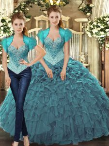 High Class Sleeveless Tulle Floor Length Lace Up Sweet 16 Dresses in Teal with Beading and Ruffles