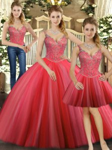 Elegant Tulle Straps Sleeveless Lace Up Beading Sweet 16 Quinceanera Dress in Coral Red