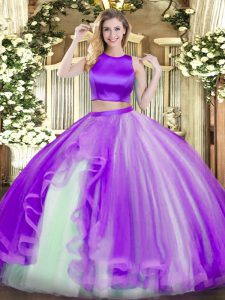 Sleeveless Tulle Floor Length Criss Cross Quince Ball Gowns in Purple with Ruffles