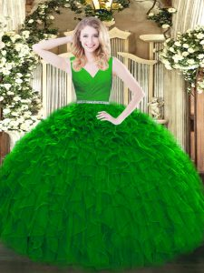 Green Tulle Zipper Sweet 16 Dresses Sleeveless Floor Length Beading and Ruffles