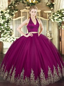 Great Floor Length Zipper Quinceanera Gowns Fuchsia for Military Ball and Sweet 16 and Quinceanera with Appliques