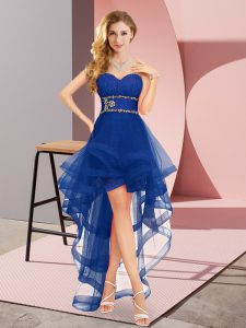 Royal Blue Sleeveless Beading High Low Quinceanera Court of Honor Dress