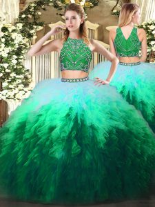 Floor Length Two Pieces Sleeveless Multi-color Sweet 16 Quinceanera Dress Zipper