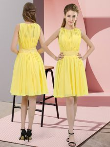 Beautiful Knee Length Yellow Quinceanera Court of Honor Dress Scoop Sleeveless Zipper