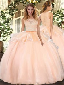 Sexy Floor Length Peach Sweet 16 Dress Scoop Sleeveless Clasp Handle