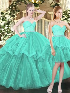 Aqua Blue Tulle Lace Up Sweetheart Sleeveless Floor Length Quinceanera Gowns Ruffled Layers
