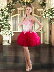 Beauteous Red Sleeveless Tulle Lace Up Prom Dress for Prom and Party