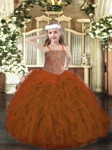 Fantastic Rust Red Ball Gowns Tulle Straps Sleeveless Beading and Ruffles Floor Length Lace Up Little Girls Pageant Dress