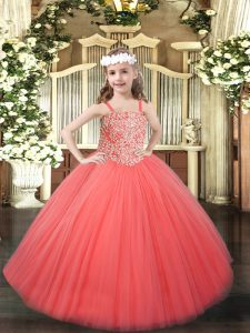 Tulle Sleeveless Floor Length Pageant Dress for Girls and Beading