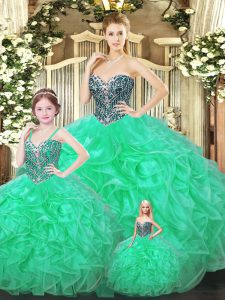 Stunning Green Ball Gowns Sweetheart Sleeveless Organza Floor Length Lace Up Ruffles 15th Birthday Dress