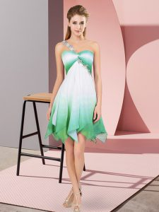 Stunning Multi-color Lace Up One Shoulder Beading Homecoming Dress Fading Color Sleeveless