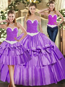Edgy Eggplant Purple Ball Gowns Organza Sweetheart Sleeveless Appliques and Ruffled Layers Floor Length Lace Up Quince Ball Gowns