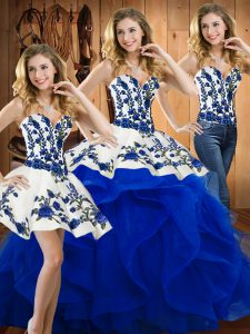 On Sale Blue Quinceanera Dress Military Ball and Sweet 16 and Quinceanera with Embroidery Sweetheart Sleeveless Lace Up