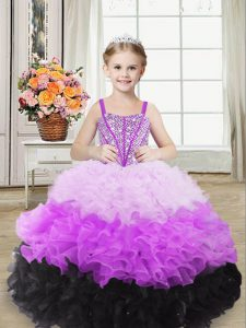 Custom Made Multi-color Organza Lace Up Pageant Dress Wholesale Sleeveless Floor Length Beading and Ruffles