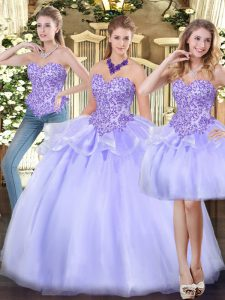 Elegant Lavender Three Pieces Appliques and Ruffles Quince Ball Gowns Zipper Organza Sleeveless Floor Length