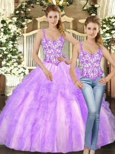 Great Lilac Sleeveless Organza Lace Up Sweet 16 Dress for Military Ball and Sweet 16 and Quinceanera