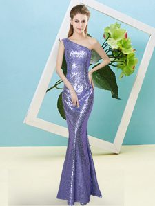 Sleeveless Sequined Floor Length Zipper Dress for Prom in Lavender with Sequins