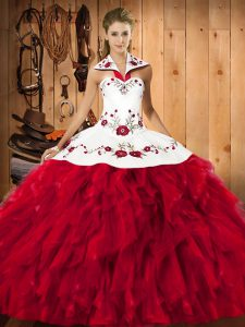 On Sale Sleeveless Embroidery and Ruffles Lace Up Quince Ball Gowns