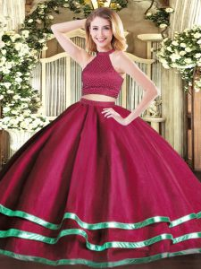 Fuchsia Ball Gowns Tulle High-neck Sleeveless Beading Floor Length Backless Quince Ball Gowns