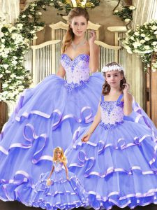 Ideal Lavender Lace Up Sweetheart Beading and Ruffled Layers Sweet 16 Quinceanera Dress Tulle Sleeveless
