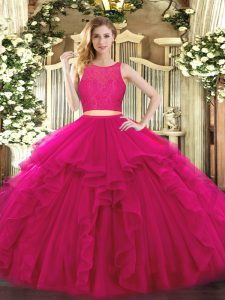 Cute Fuchsia Tulle Zipper Scoop Sleeveless Floor Length Quinceanera Gowns Ruffles